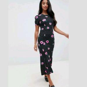 ASOS City Maxi Tea Dress Mono Polka Dot Floral